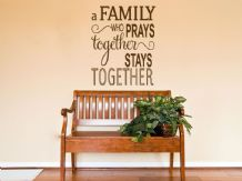 "Religious Wall Quote ""The Family That Prays.."" Wall Art Sticker, Modern Transfer"
